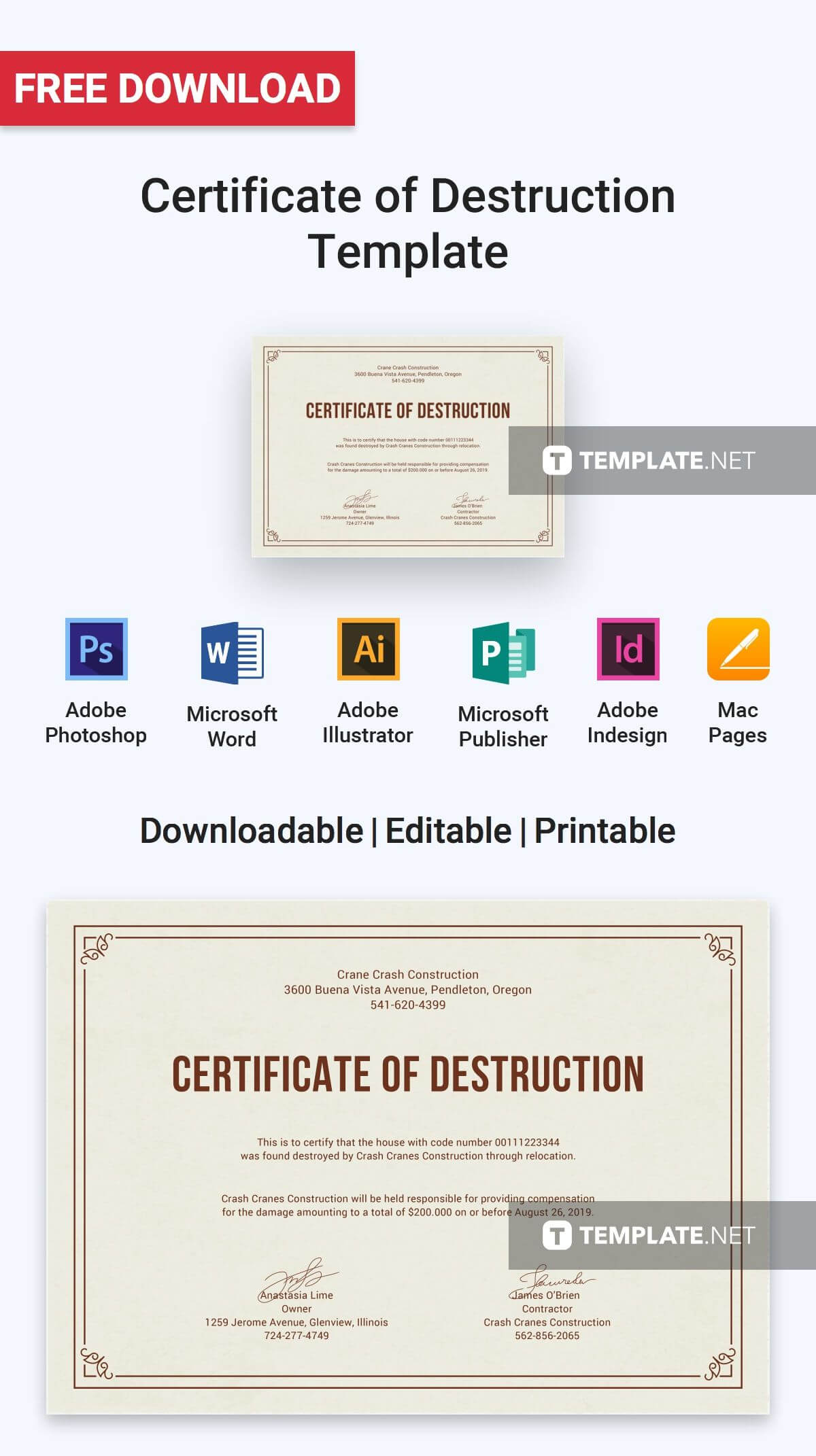 Free Certificate Of Destruction | Certificate Templates In Free Certificate Of Destruction Template