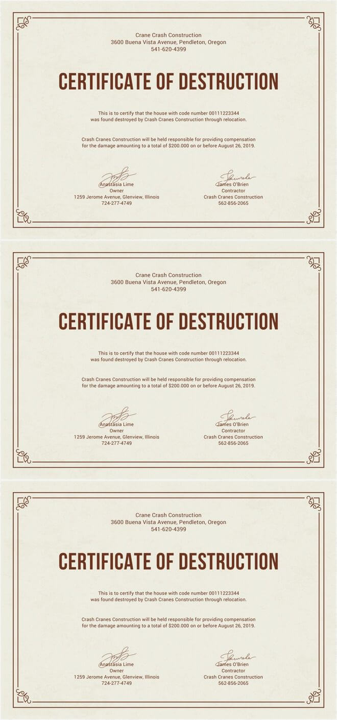 Free Certificate Of Destruction | Free Certificate Templates for Hard Drive Destruction Certificate Template