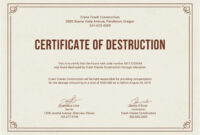 Free Certificate Of Destruction | Free Certificate Templates Inside Free Certificate Of Destruction Template