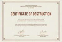 Free Certificate Of Destruction | Free Certificate Templates regarding Certificate Of Destruction Template
