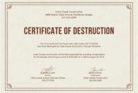 Free Certificate Of Destruction   Free Certificate Templates throughout Destruction Certificate Template