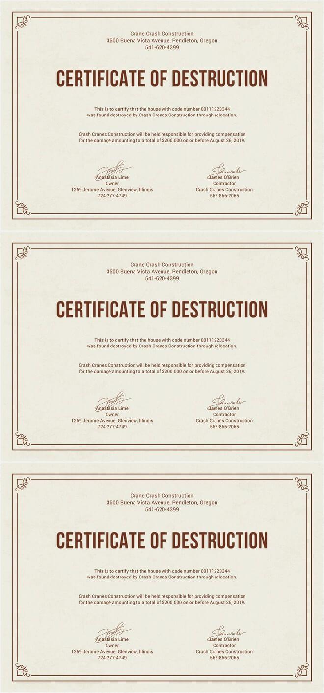 Free Certificate Of Destruction | Free Certificate Templates Throughout Destruction Certificate Template