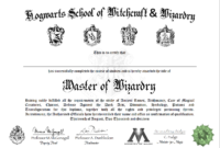 Free Certificate Of Hogwarts To Download And Use | Harry For Harry Potter Certificate Template