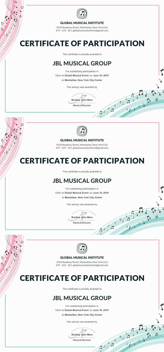 Free Choir Certificate Of Participation | Certificate Of for Choir Certificate Template