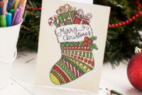Free Christmas Coloring Card intended for Diy Christmas Card Templates