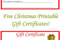Free Christmas Printable Gift Certificates | Free Gift with regard to Printable Gift Certificates Templates Free