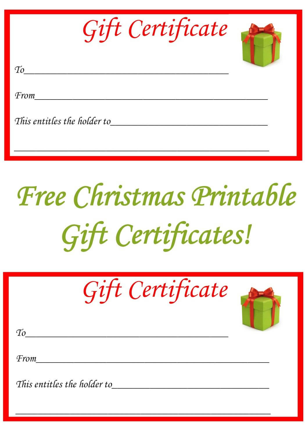 Free Christmas Printable Gift Certificates | Free Gift within Homemade Gift Certificate Template