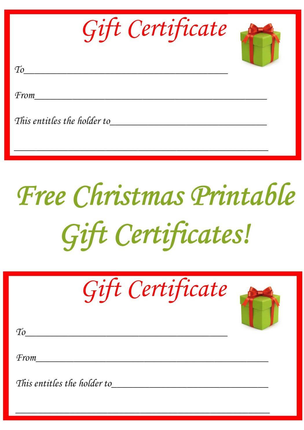 Free Christmas Printable Gift Certificates | Gift Ideas Regarding Free Christmas Gift Certificate Templates