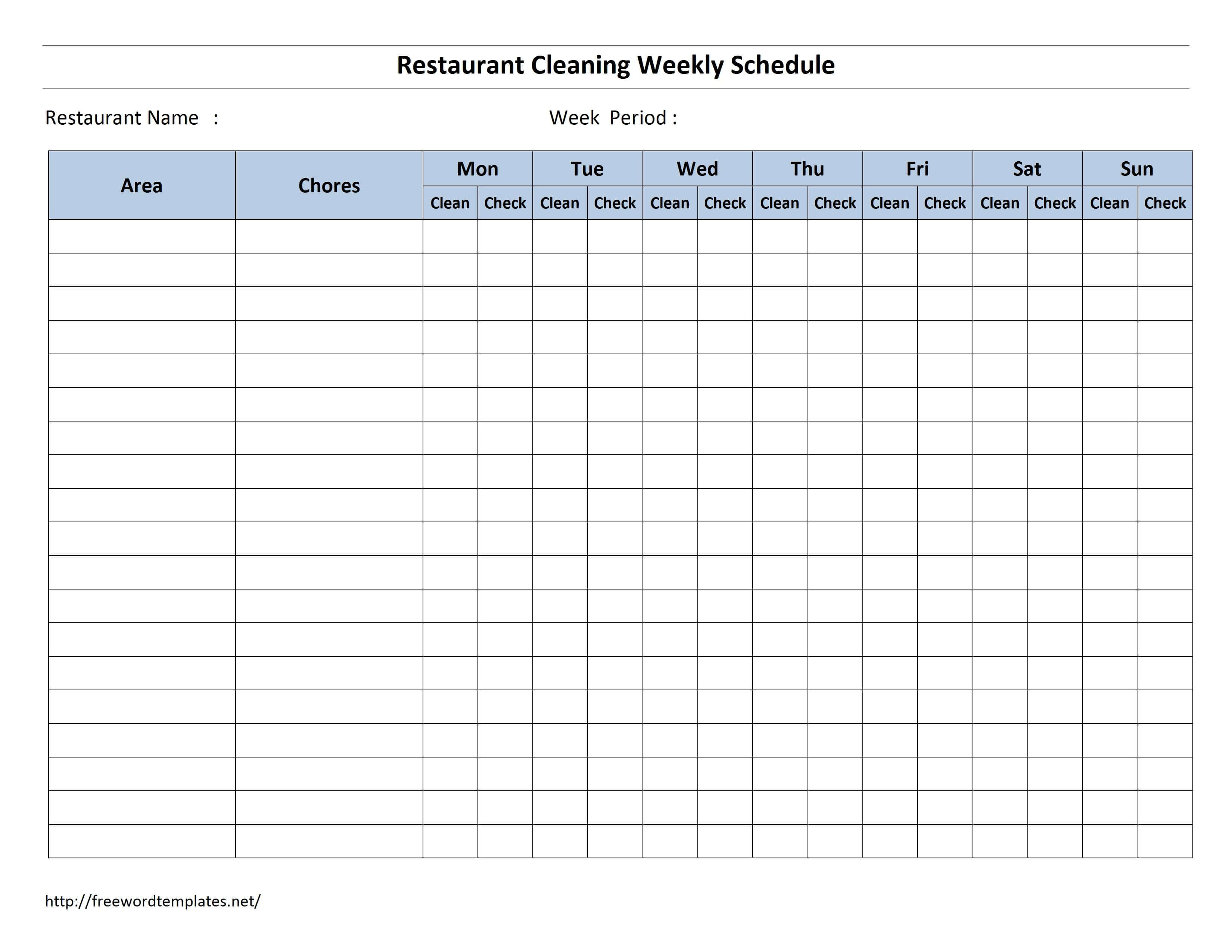 Free Cleaning Schedule Forms | Excel Format And Payroll With Blank Cleaning Schedule Template