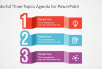 Free Colorful Three Topics Agenda For Powerpoint | Better for Replace Powerpoint Template