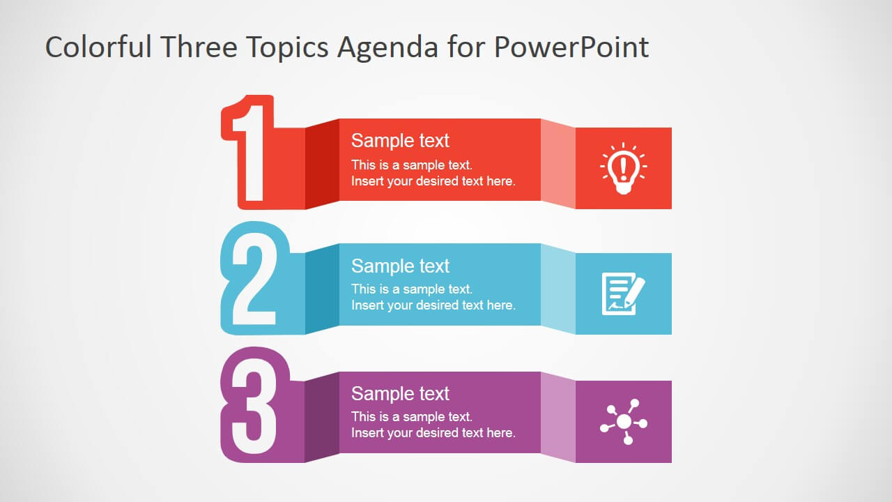Free Colorful Three Topics Agenda For Powerpoint Intended For Powerpoint Sample Templates Free Download
