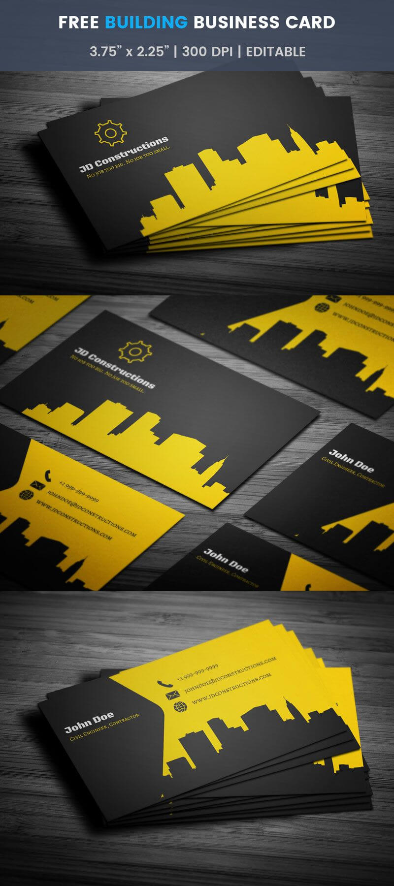 Free Construction Business Card Template Word Visiting with Construction Business Card Templates Download Free