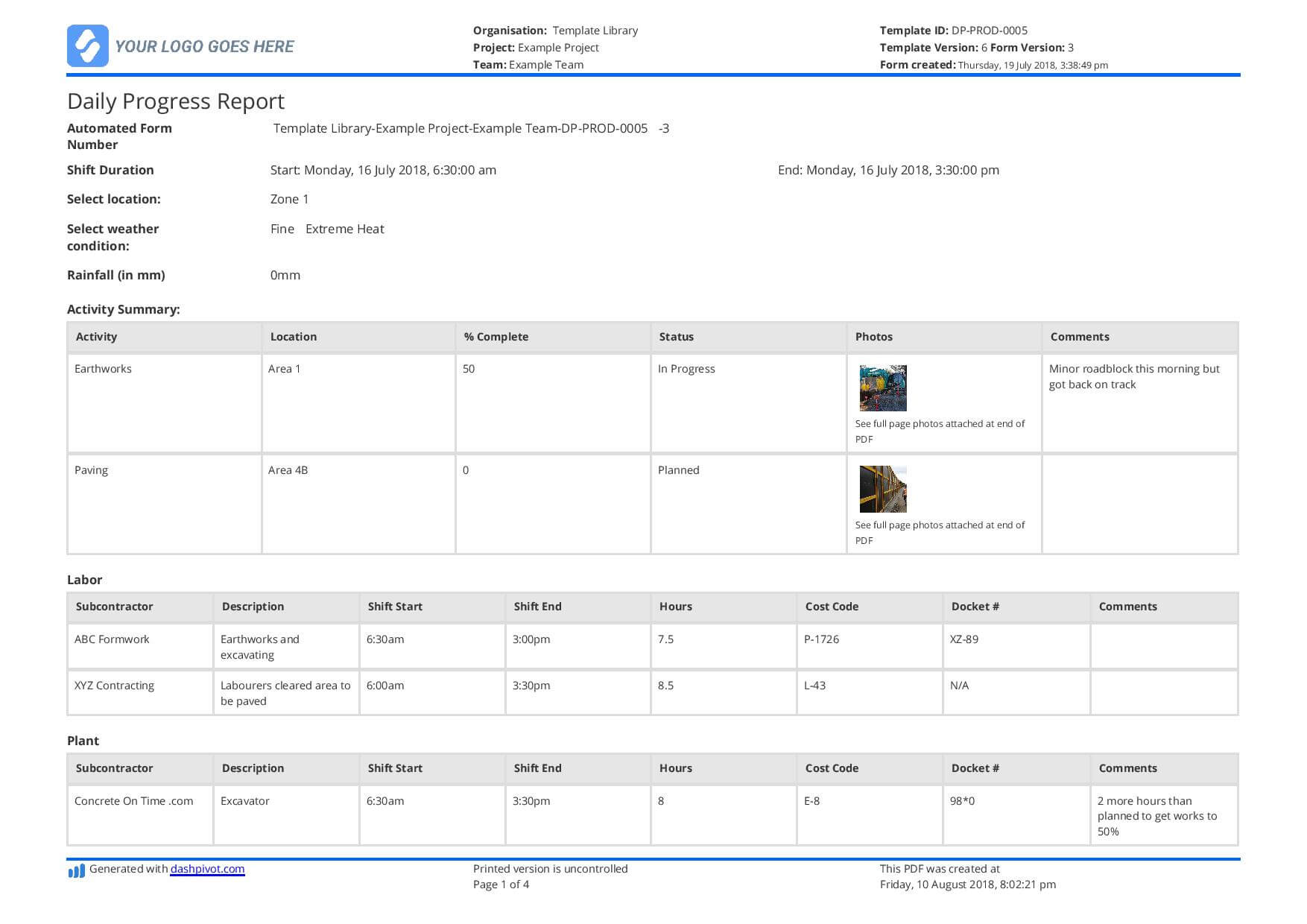 Free Construction Daily Report Template (Better Than Pdf Regarding Engineering Progress Report Template