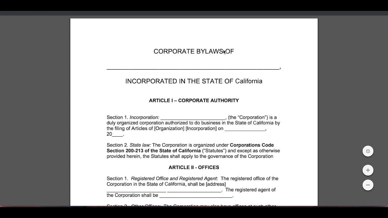 Free Corporate Bylaws Template | Pdf | Word Intended For Corporate Bylaws Template Word