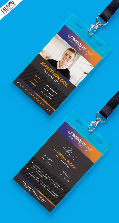 Free Creative Identity Card Design Template Psd with regard to Id Card Design Template Psd Free Download