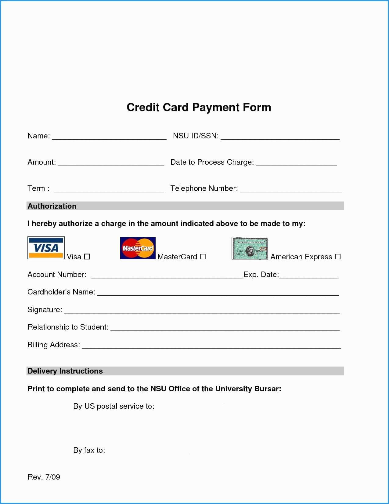 Free Credit Card Authorization Form Template Word Luxury pertaining to Credit Card Billing Authorization Form Template