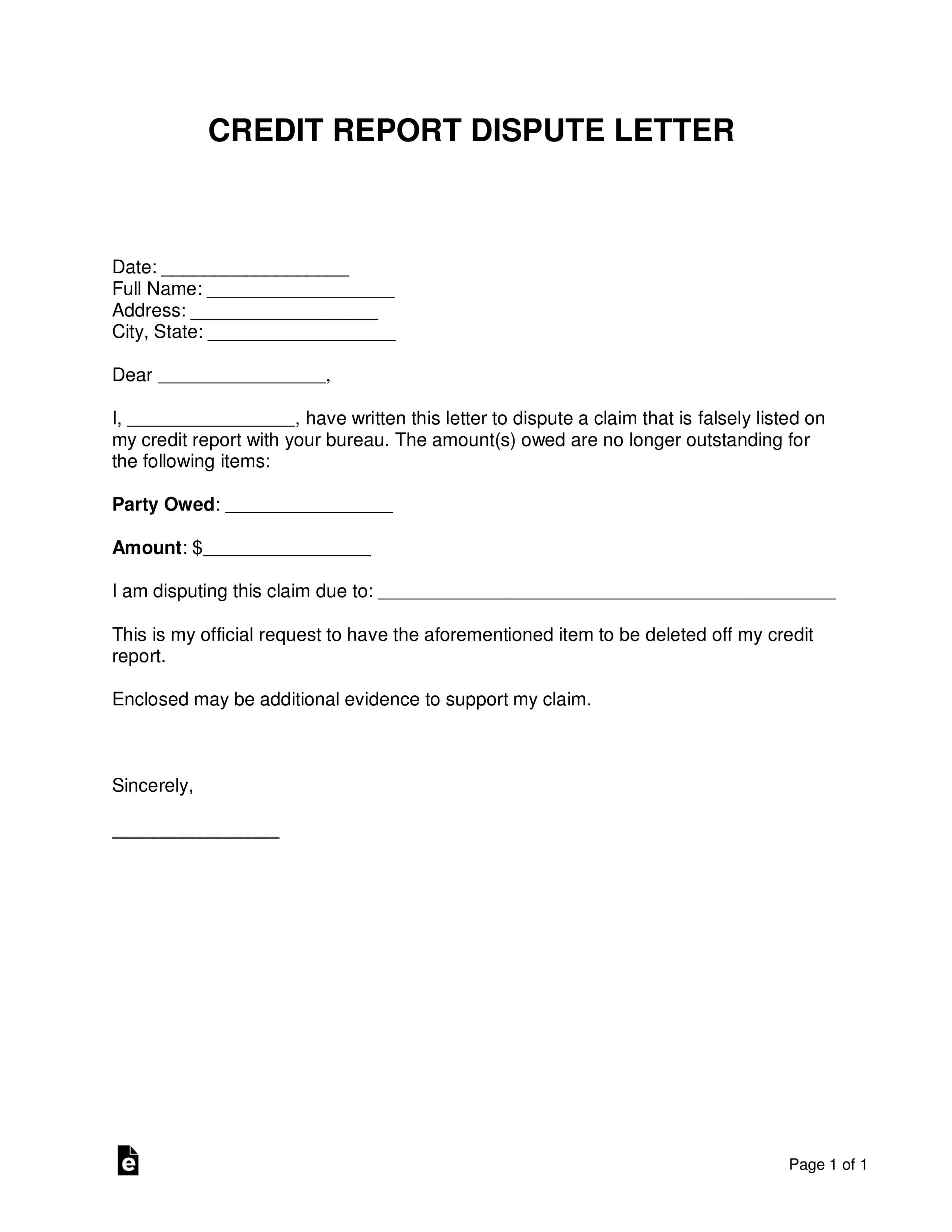 Free Credit Report Dispute Letter Template - Sample - Word pertaining to Credit Report Dispute Letter Template