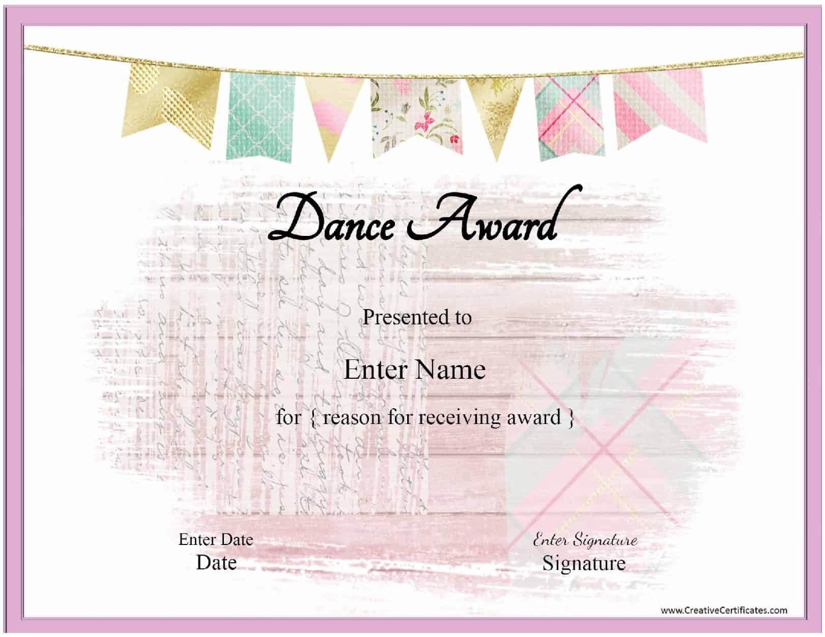 Free Dance Certificate Template - Customizable And Printable With Regard To Dance Certificate Template