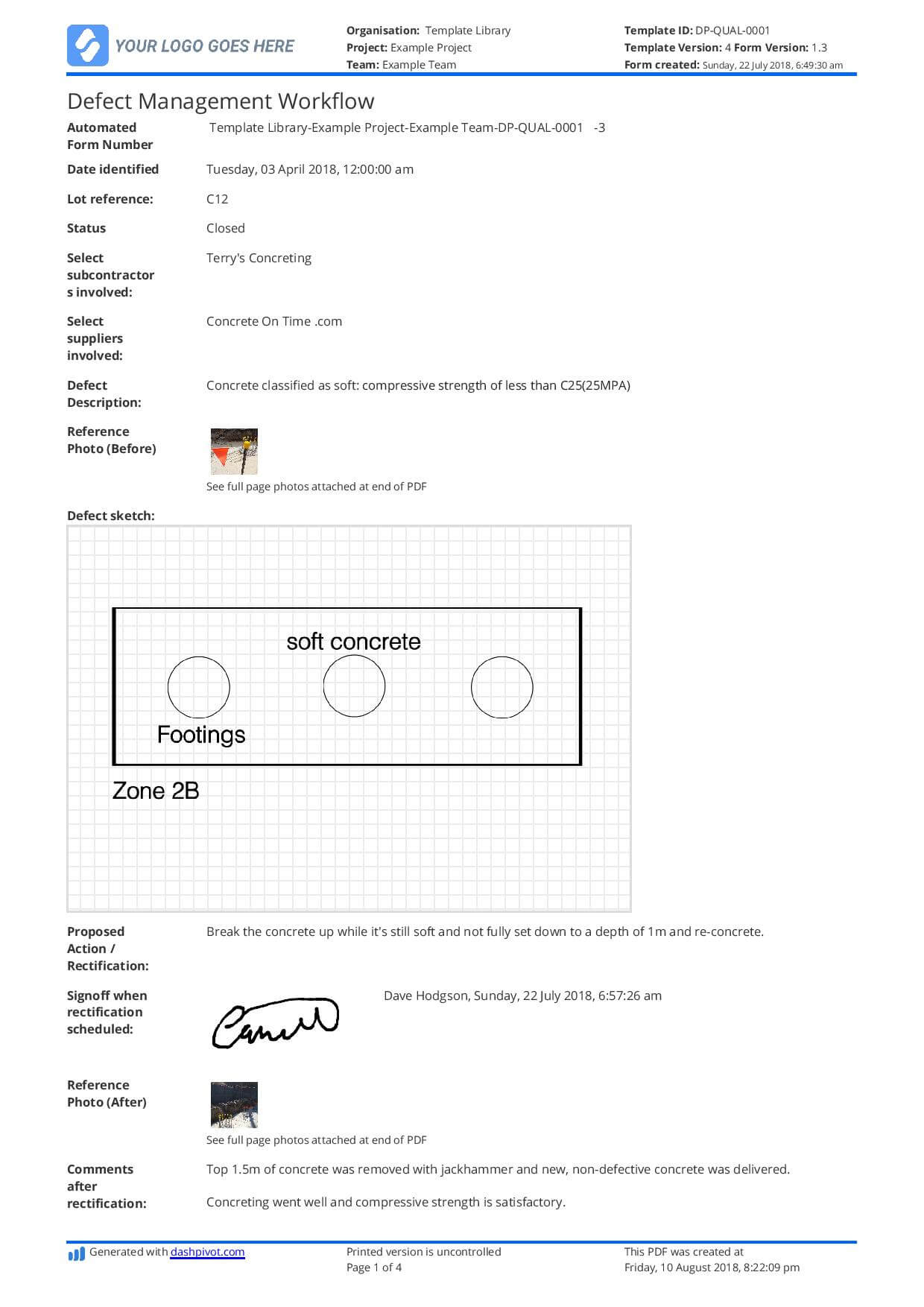 Free Defect Report Template (Better Than Word Doc And Excel) Inside Equipment Fault Report Template
