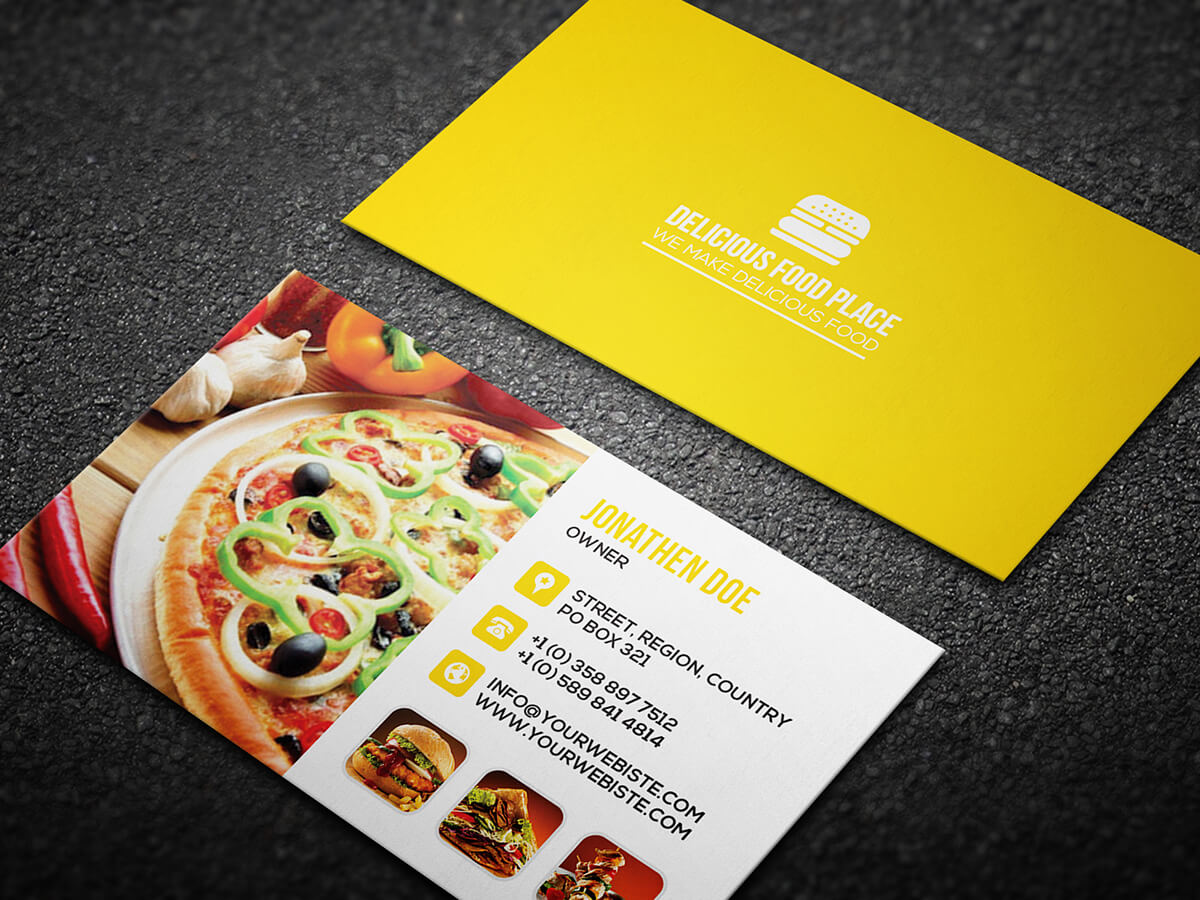 Free Delicious Food Business Card On Behance Regarding Food Business Cards Templates Free