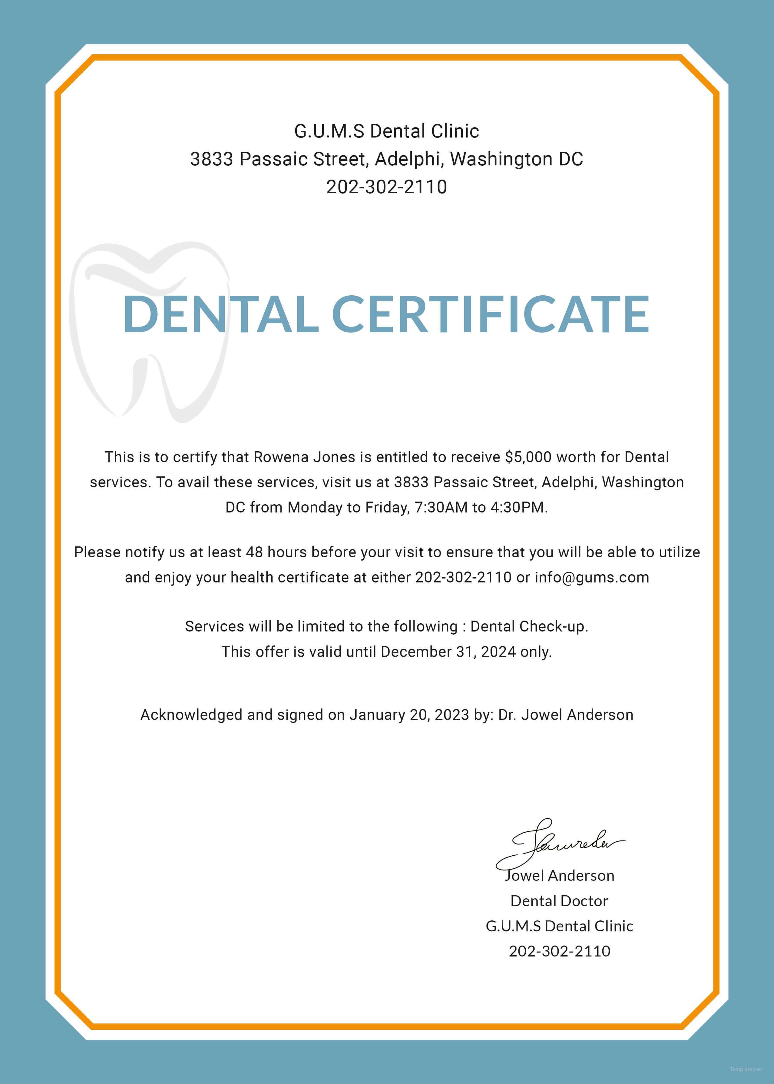 Free Dental Medical Certificate Sample | Free Dental, Dental Within Fake Medical Certificate Template Download