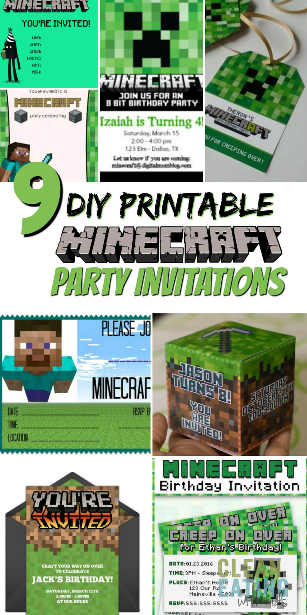 Free Diy Printable Minecraft Birthday Invitation - Clean with Minecraft Birthday Card Template