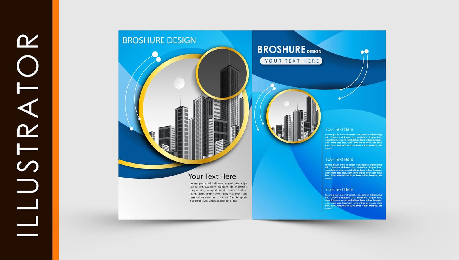 Free Download Adobe Illustrator Template Brochure Two Fold Pertaining To Illustrator Brochure Templates Free Download