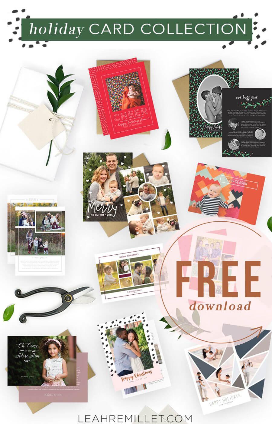 Free Download: Christmas Card Template Bundle For The In Free Christmas Card Templates For Photographers