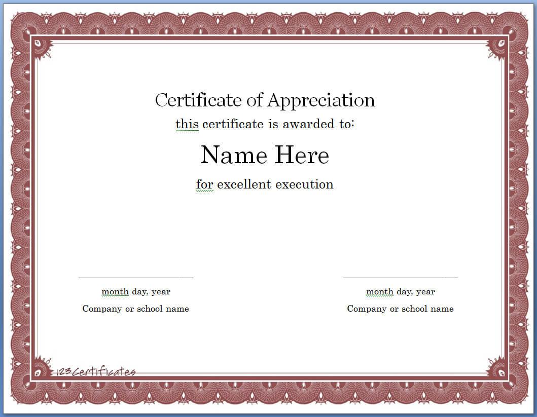 Free Editable Certificate Of Appreciation Template #1914 Within Certificate Of Appreciation Template Free Printable