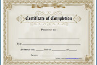 Free Editable Printable Certificate Of Completion #253 with Blank Certificate Of Achievement Template