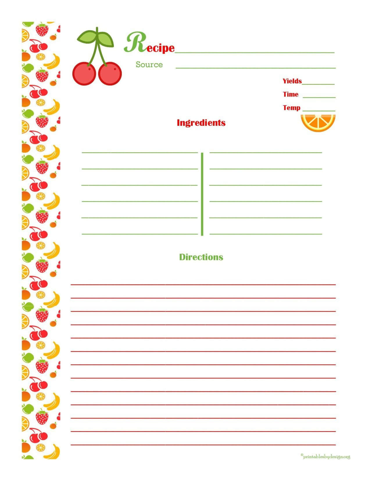 Free Editable Recipe Card Templates For Microsoft Word Within Free Recipe Card Templates For Microsoft Word