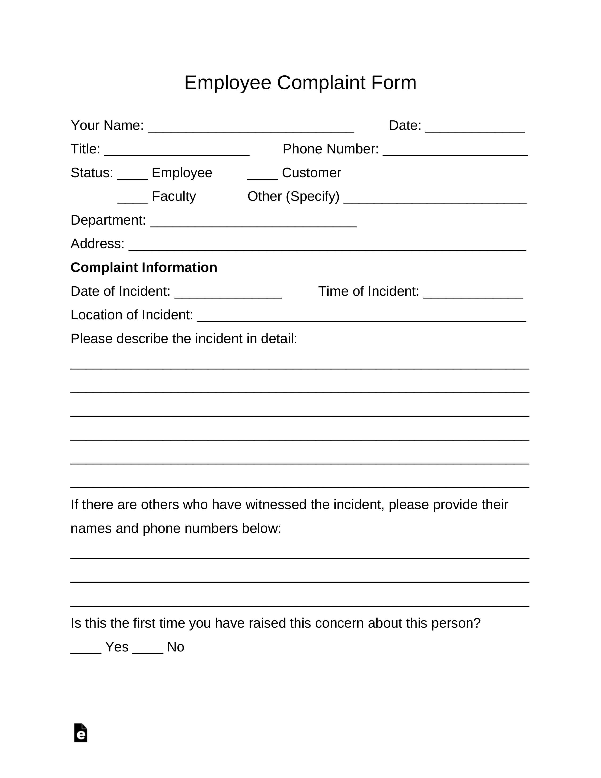 Free Employee Complaint Form - Pdf | Word | Eforms – Free intended for Word Employee Suggestion Form Template