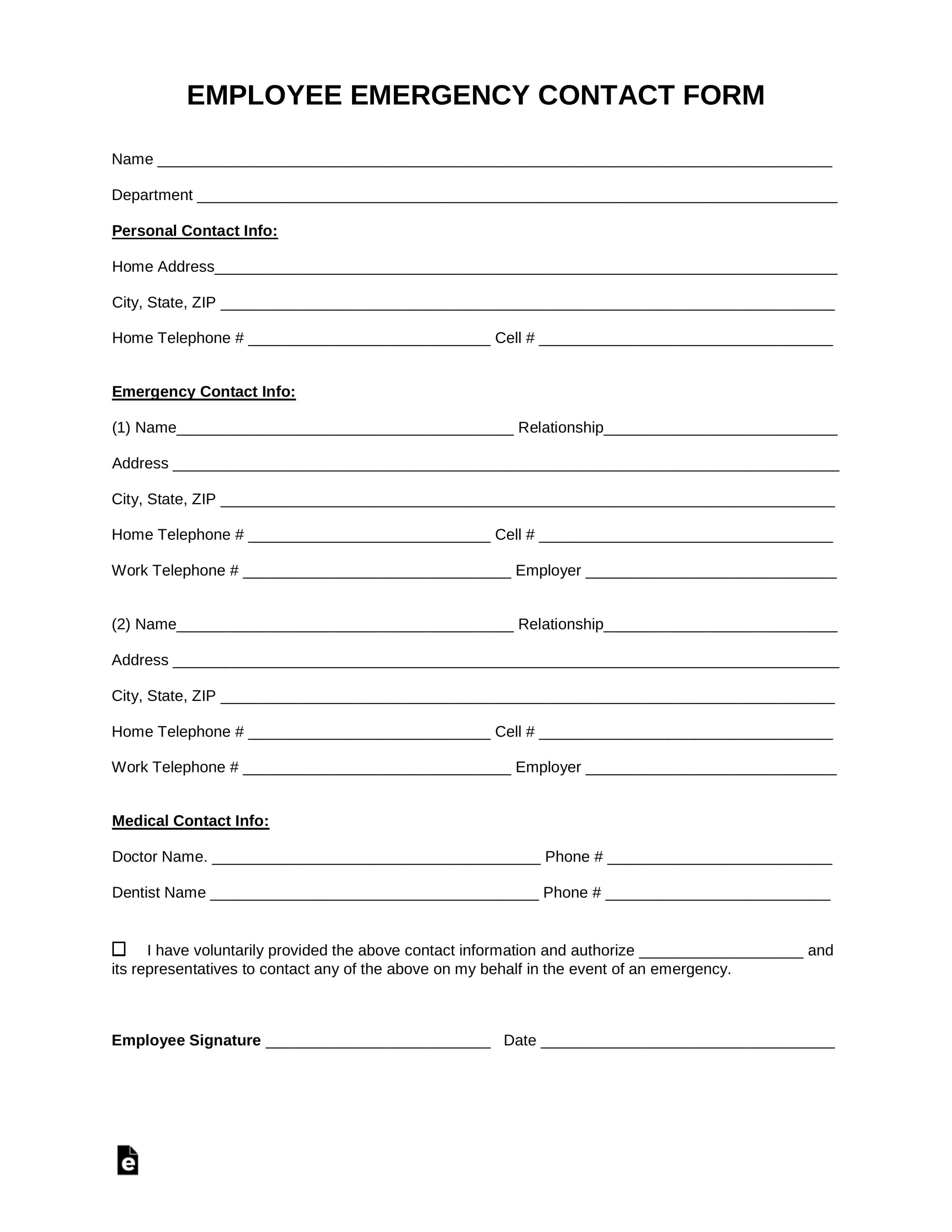 Free Employee Emergency Contact Form - Pdf | Word | Eforms inside Emergency Contact Card Template