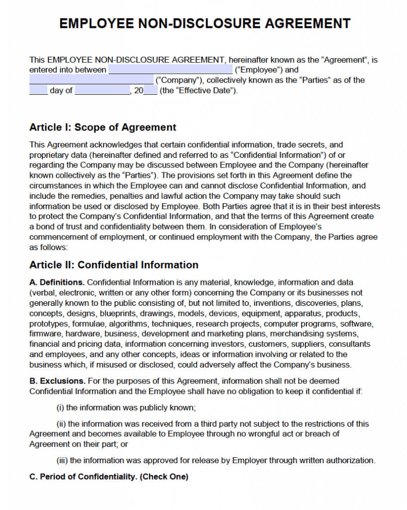 Free Employee Non Disclosure Agreement (Nda) | Pdf | Word Pertaining To Nda Template Word Document