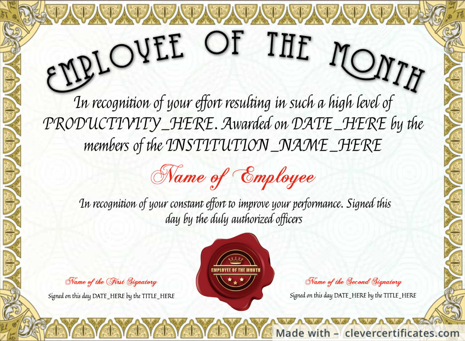 Free Employee Of The Month Certificate Template At throughout Employee Of The Month Certificate Template With Picture