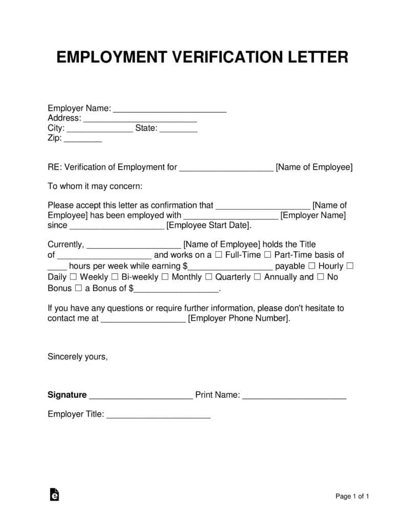 Free Employment (Income) Verification Letter - Pdf | Word In Employment Verification Letter Template Word