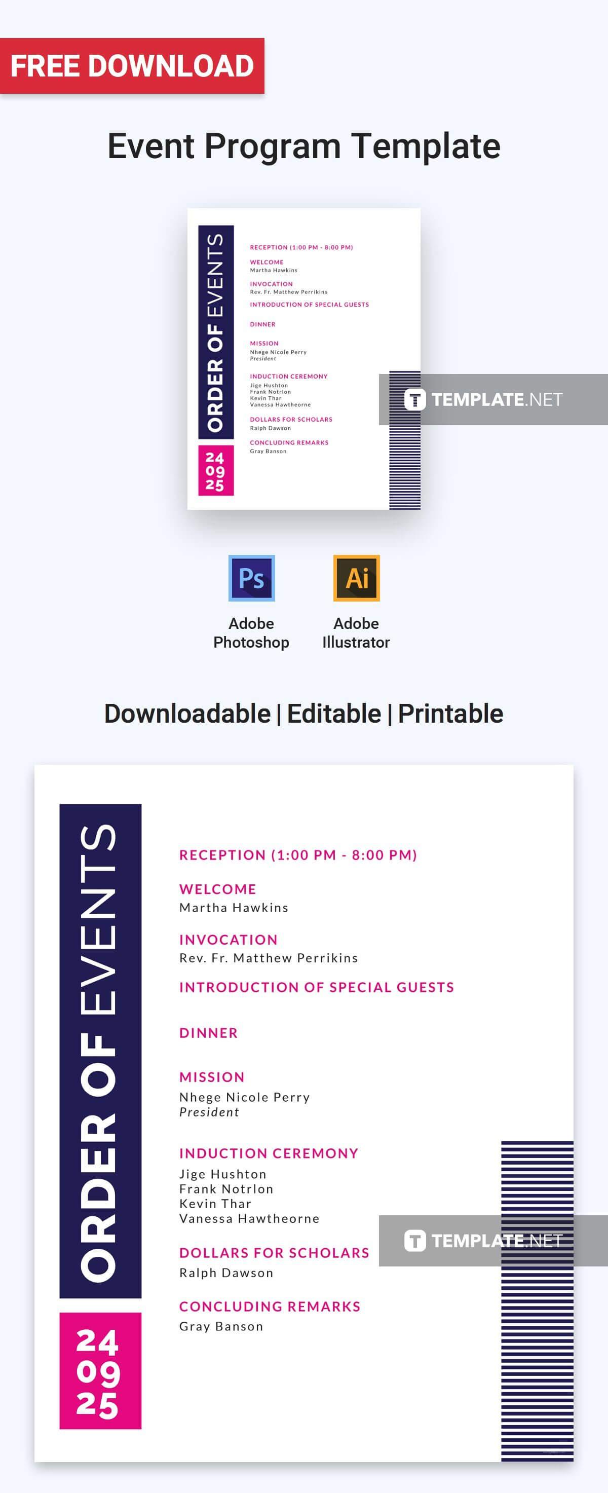 Free Event Program Invitation | Program Templates & Designs Throughout Free Event Program Templates Word
