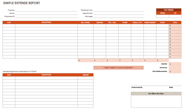 Free Expense Report Templates Smartsheet with regard to Expense Report Spreadsheet Template Excel