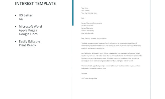 Free Formal Letter Of Interest | Letter Of Interest Template intended for Letter Of Interest Template Microsoft Word