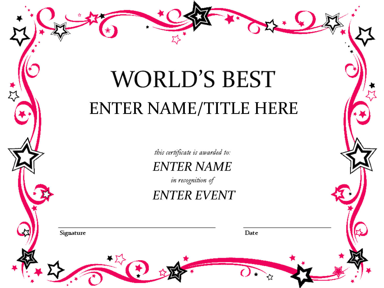 Free Funny Award Certificates Templates | Worlds Best Custom With Free Printable Funny Certificate Templates