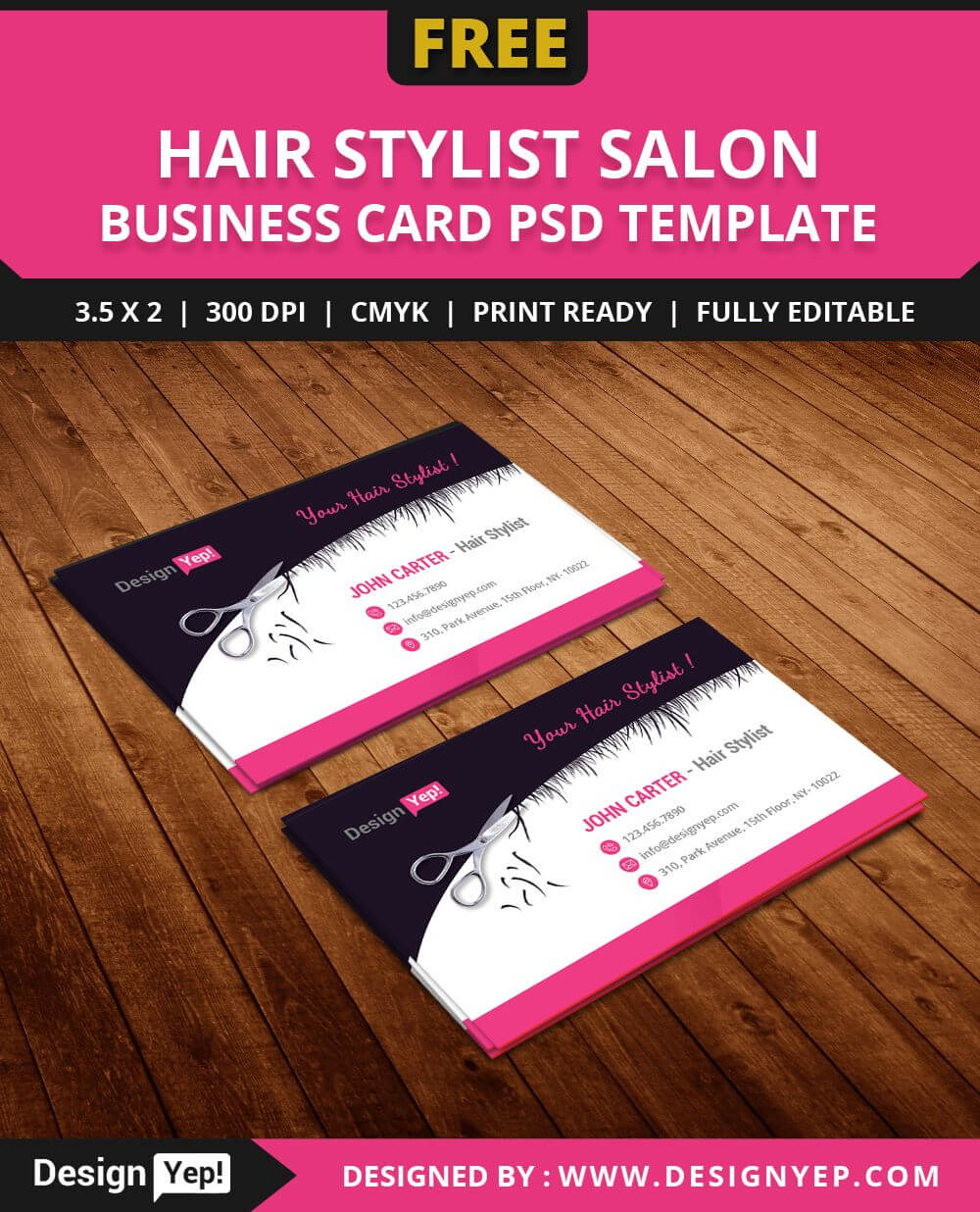 Free Hair Stylist Salon Business Card Template Psd | Salon With Regard To Hairdresser Business Card Templates Free