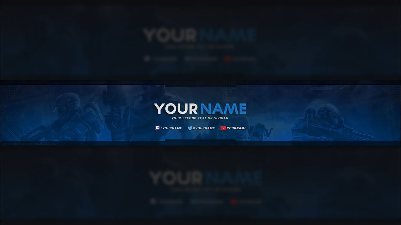 Free Halo Youtube Banner Template (Psd) pertaining to Yt Banner Template