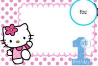 Free Hello Kitty 1St Birthday Invitation Template | Hello regarding Hello Kitty Birthday Banner Template Free