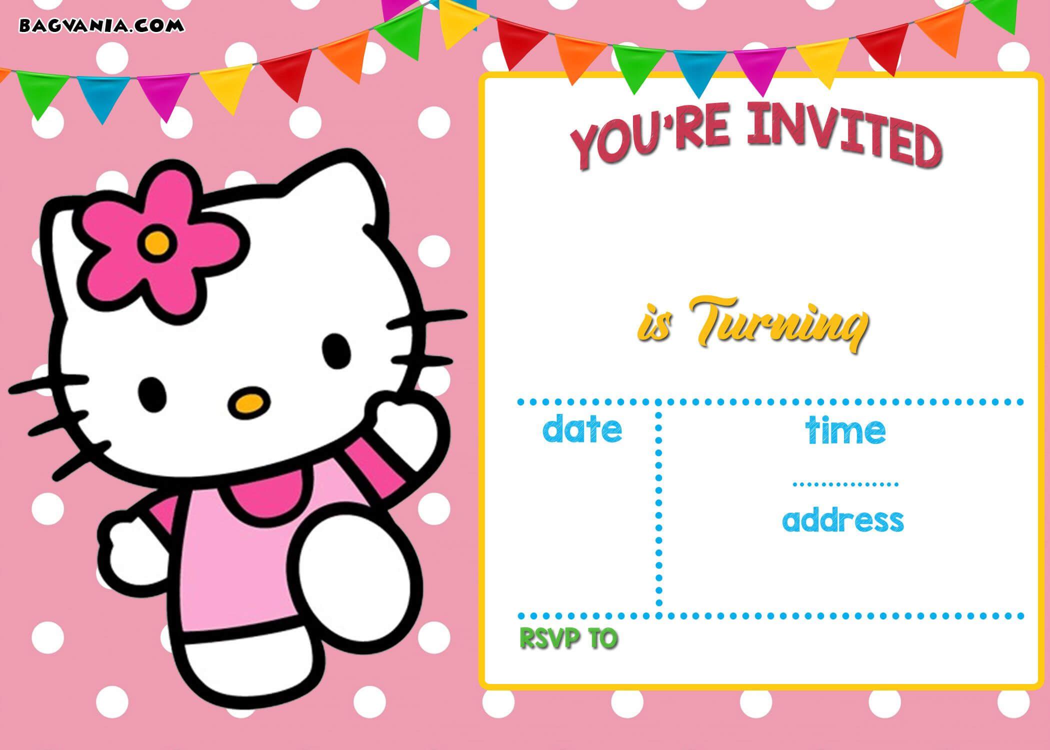 Free Hello Kitty Invitation Templates | Hello Kitty Birthday for Hello Kitty Birthday Card Template Free