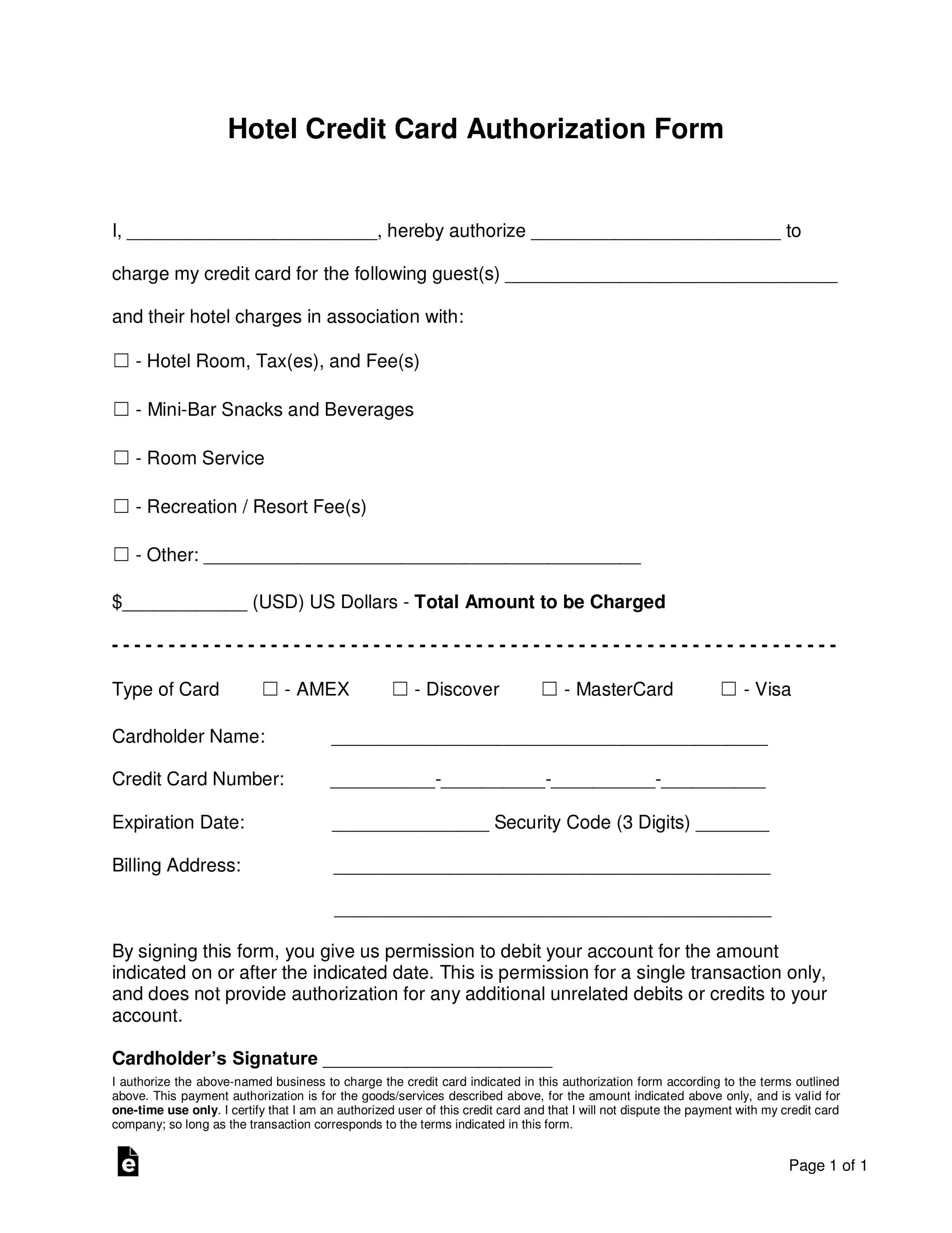 Free Hotel Credit Card Authorization Forms - Word | Pdf With Hotel Credit Card Authorization Form Template