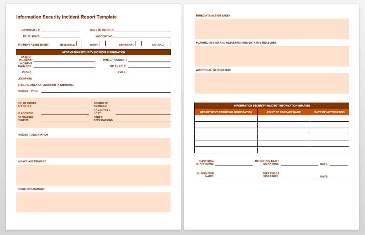 Free Incident Report Templates & Forms | Smartsheet with Computer Incident Report Template