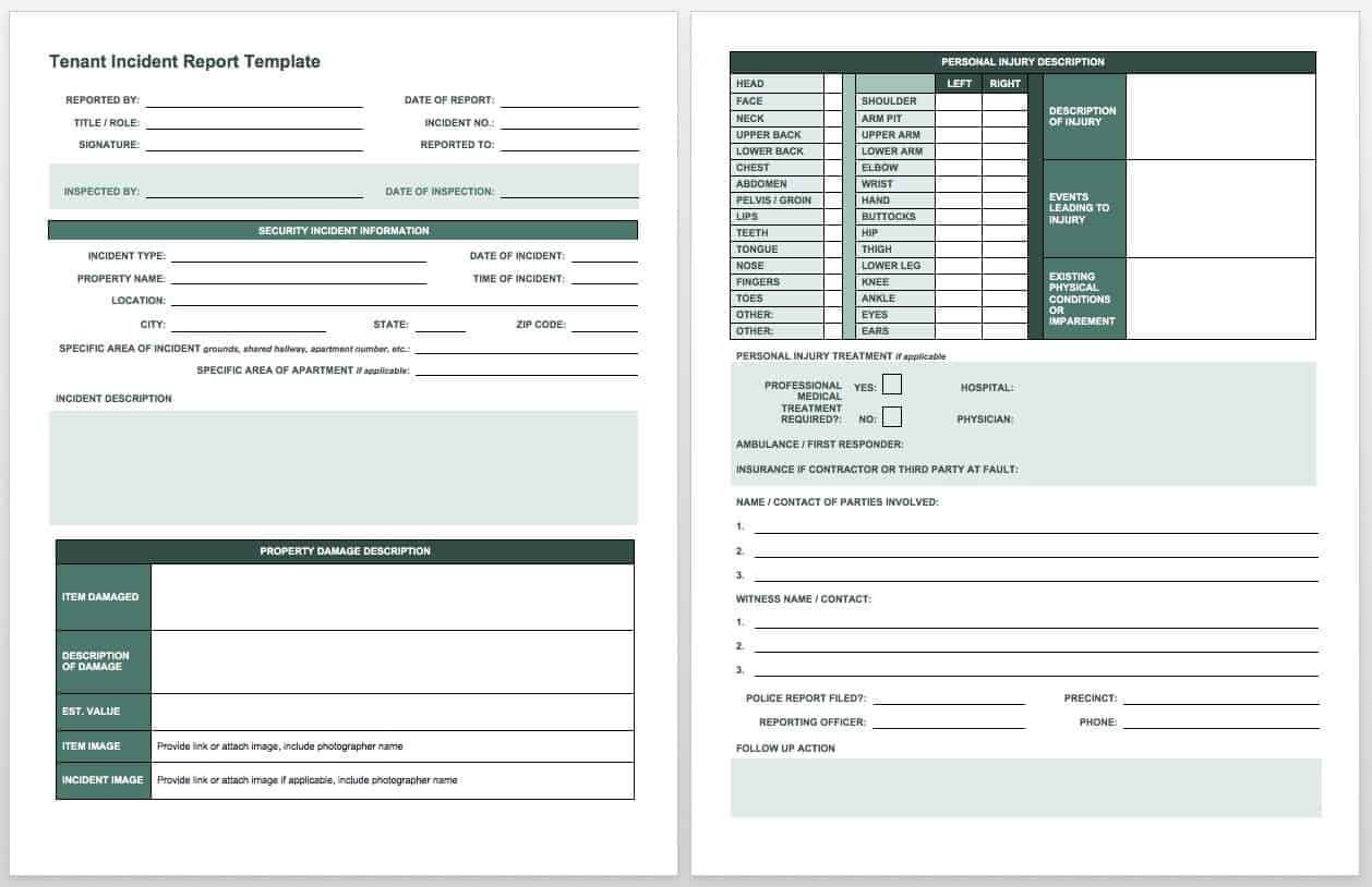 Free Incident Report Templates & Forms | Smartsheet within Injury Report Form Template