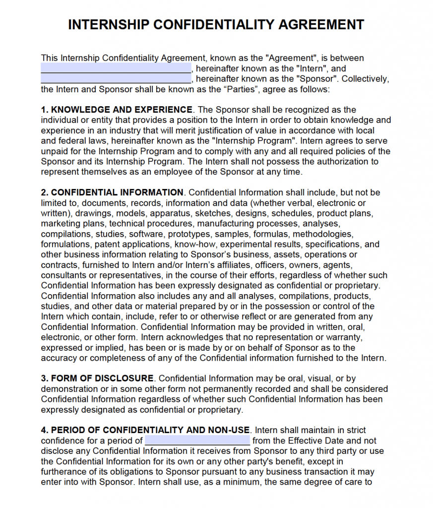 Free Intern Non-Disclosure Agreement (Nda) – Pdf – Word throughout Nda Template Word Document