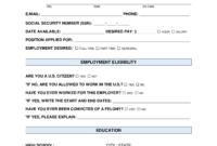 Free Job Application Form – Standard Template – Pdf   Word throughout Job Application Template Word