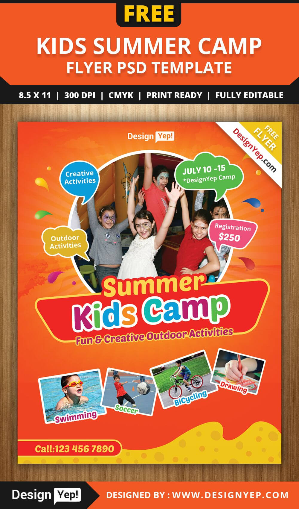 Free-Kids-Summer-Camp-Flyer-Psd-Template-8585-Designyep for Summer Camp Brochure Template Free Download